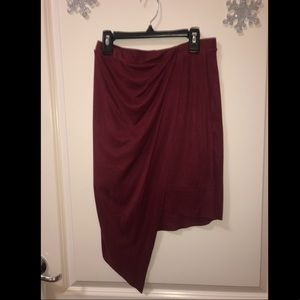 Suede Asymmetrical Skirt
